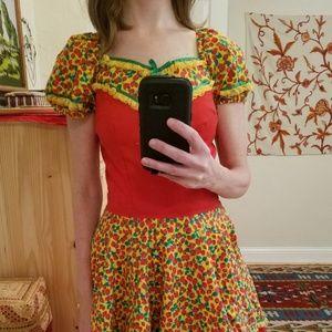 Vintage Handmade Strawberry 🍓 Dirndl Dress S